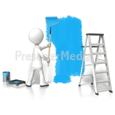 Stick Figure Painting Wall PowerPoint Clip Art