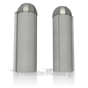ID# 6371 - Twin Silos Separated - Presentation Clipart