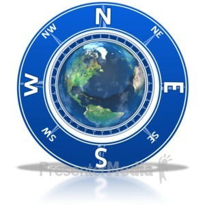 ID# 6383 - Compass Around the Earth - Presentation Clipart