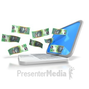 ID# 6433 - Australian Money Through Laptop - Presentation Clipart