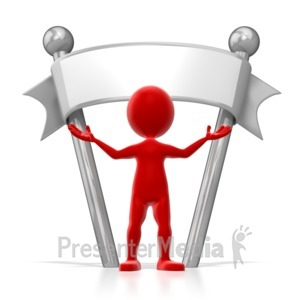 ID# 6440 - Stick Figure Colored Standing Under Sign - Presentation Clipart