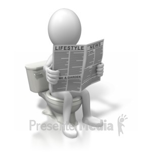 ID# 6456 - On The Toilet Reading - Presentation Clipart