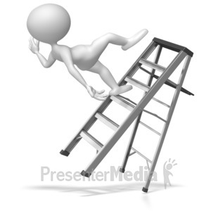 ID# 6469 - Stick Figure Falling Off Ladder - Presentation Clipart