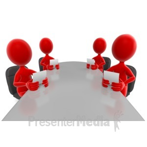 ID# 6474 - Stick Figures Colored Conference Meeting - Presentation Clipart