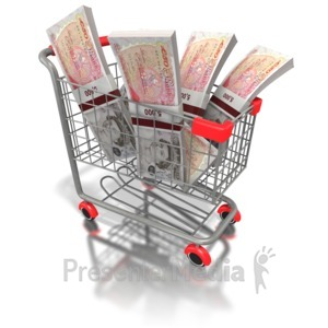 ID# 6494 - Shopping Cart British Money - Presentation Clipart