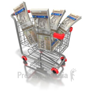 ID# 6495 - Shopping Cart with Canadian Money - Presentation Clipart