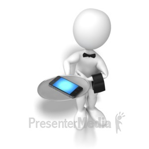 ID# 6527 - Stick Figure Waiter Cellphone - Presentation Clipart