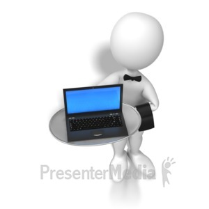 ID# 6528 - Stick Figure Waiter Laptop - Presentation Clipart