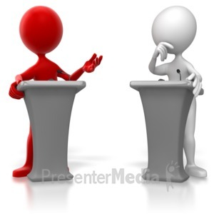 ID# 6537 - Stick Figure Colored Podium Debate  - Presentation Clipart