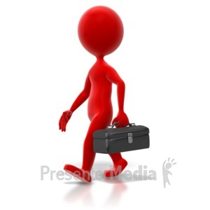 ID# 6541 - Stick Figure Toolbox Walk Colored - Presentation Clipart