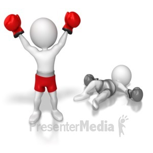 ID# 6545 - Stick Figure Knock Out Competition - Presentation Clipart
