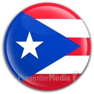 ID# 6574 - Badge Button Puerto Rico Flag - Presentation Clipart