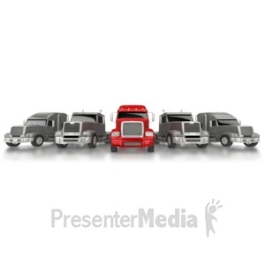 ID# 6598 - Leader Of Semi Convoy - Presentation Clipart