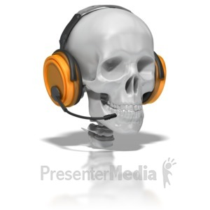 ID# 6606 - Skull Wearing Headset - Presentation Clipart