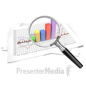 ID# 6750 - Financial Data Zoom In Magnify - Presentation Clipart