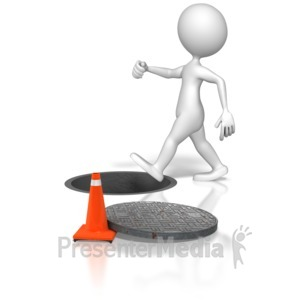 ID# 6792 - Stick Figure Walking Into Manhole - Presentation Clipart