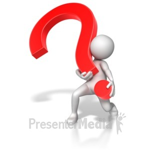 ID# 6816 - Stick Figure Lifting Heavy Question Mark - Presentation Clipart