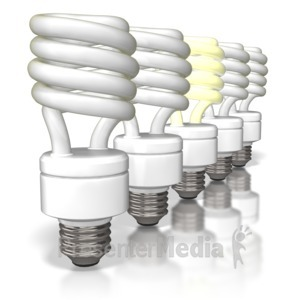 ID# 6893 - Cfl Light Bulbs Row - Presentation Clipart