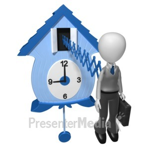 ID# 6894 - Businessman Cuckoo Clock - Presentation Clipart