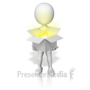 ID# 6904 - Holding Open Box Of Light - Presentation Clipart