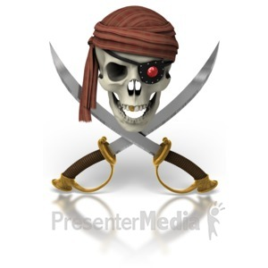 ID# 6909 - Pirate Skull And Swords - Presentation Clipart