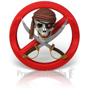 ID# 6910 - No Piracy Skull And Swords - Presentation Clipart