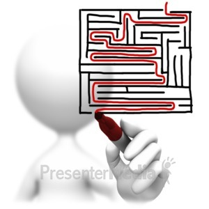 ID# 6939 - Solving A Maze Drawing - Presentation Clipart