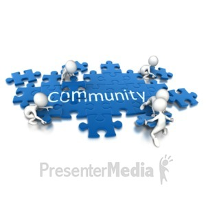 ID# 6968 - Puzzle Pieces Community Teamwork - Presentation Clipart