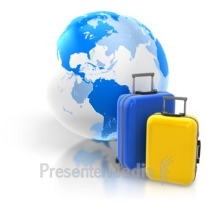 ID# 6974 - World Travel Two Luggage - Presentation Clipart