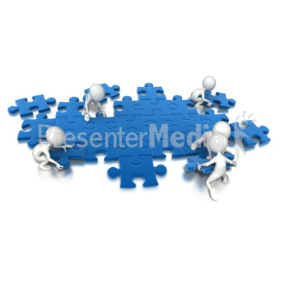 Puzzle People Working Together PowerPoint Clip Art