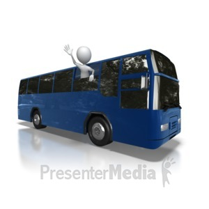 ID# 7013 - Stick Figure Bus Trip - Presentation Clipart