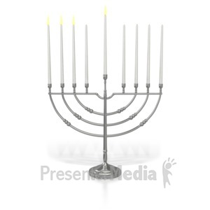 ID# 7017 - Menorah Third Candle Lit - Presentation Clipart