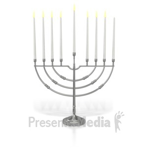 ID# 7021 - Menorah Seventh Candle Lit - Presentation Clipart