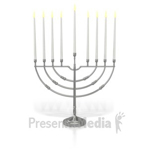 ID# 7022 - Menorah Eighth Candle Lit - Presentation Clipart