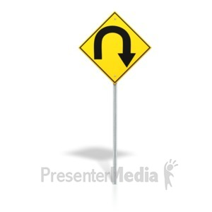 ID# 7081 - U Turn Road Sign - Presentation Clipart