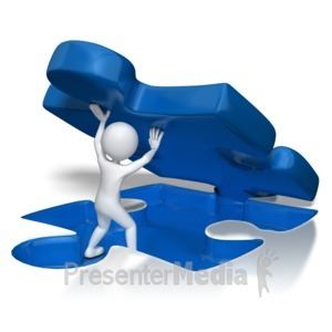 ID# 7104 - Stick Figure Lifting Puzzle Piece - Presentation Clipart