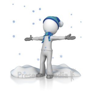 ID# 7111 - Stick Figure In Falling Snow - Presentation Clipart