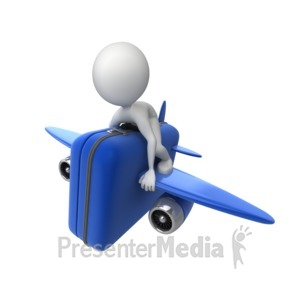 ID# 7125 - Riding Luggage Airplane - Presentation Clipart