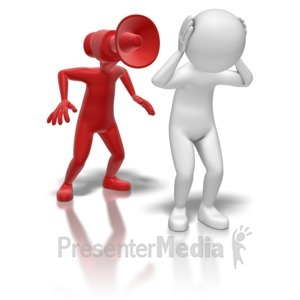 ID# 7143 - Stick Figure Bullhorn Person - Presentation Clipart
