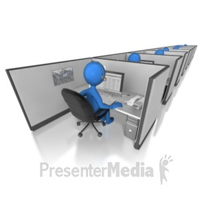 ID# 7147 - Call Center Cubicle Line - Presentation Clipart