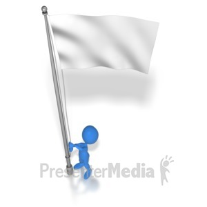 ID# 7170 - Stick Figure Raising Flag - Presentation Clipart