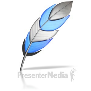 ID# 7174 - Single Colored Feather - Presentation Clipart