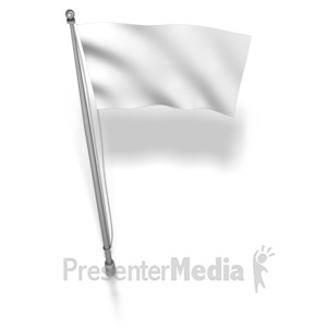 ID# 7184 - White Flag On Flag Pole - Presentation Clipart