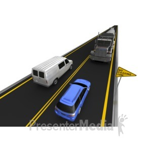 ID# 7400 - Highway No Passing Vehicle Right Lane - Presentation Clipart