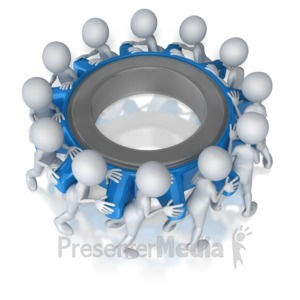 ID# 7415 - Stick Figure Team Turning Gear - Presentation Clipart