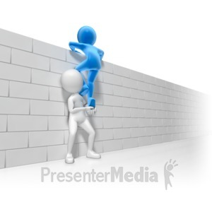 ID# 7606 - Helping Over The Wall - Presentation Clipart