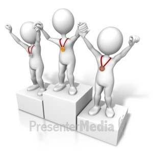 ID# 7607 - Winners Raising Hands - Presentation Clipart