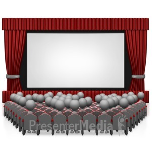 ID# 7629 - Movie Theater With People - Presentation Clipart