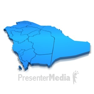 ID# 7631 - Saudi Arabia Blue Map Outline - Presentation Clipart