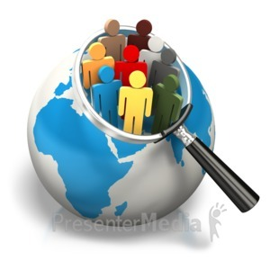 ID# 7653 - World Population Africa Europe Search - Presentation Clipart